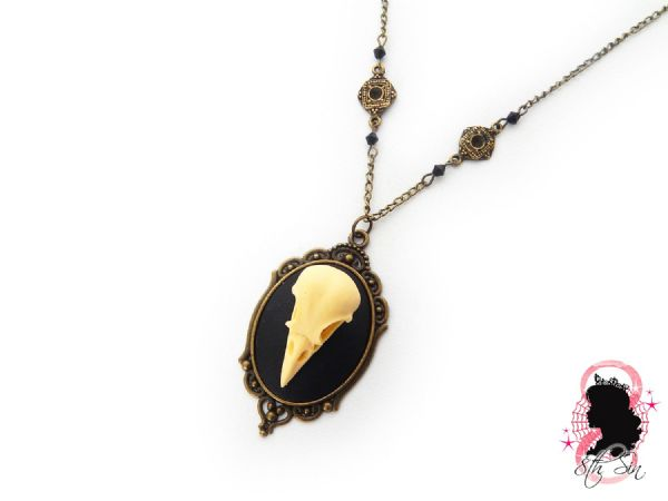 "2"" Antique Bronze Bird Skull Cameo Necklace"